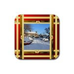 Checked square coaster - Rubber Coaster (Square)