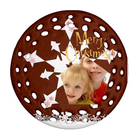 Christmas By Joely   Ornament (round Filigree)   Ol37alnit3i3   Www Artscow Com Front