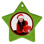 Red & Green glitter star ornament-2 sides - Star Ornament (Two Sides)