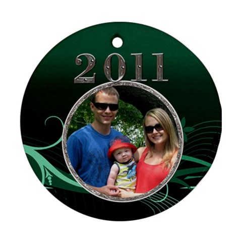 Green 2011 Round Ornament By Lil    Ornament (round)   Kliv0smc2g6v   Www Artscow Com Front