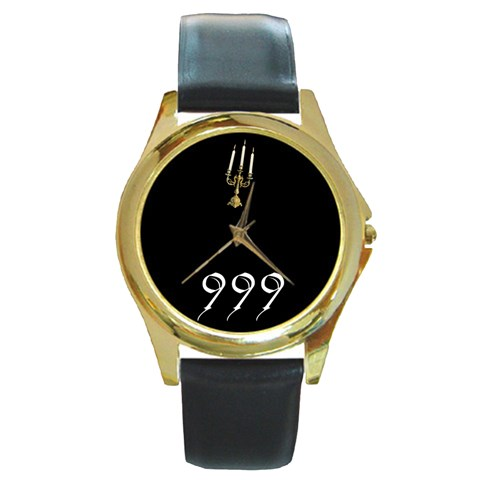 Haunted Mansion By Timm Miller   Round Gold Metal Watch   8s4zb54ye2n0   Www Artscow Com Front