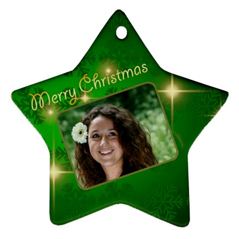 Merry Christmas Green Star By Deborah   Ornament (star)   C7yhijtqjsn1   Www Artscow Com Front