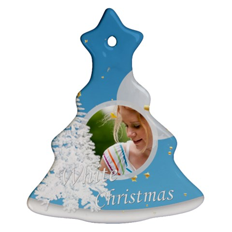 White Chritmas By Joely   Ornament (christmas Tree)    Yx1y0dbutd2r   Www Artscow Com Front