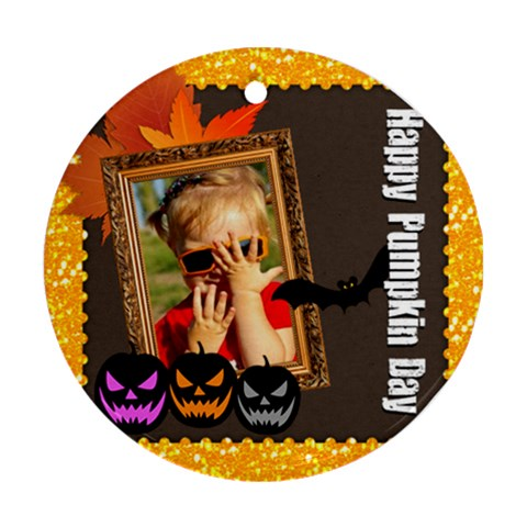 Halloween By Joely   Ornament (round)   E2wxtdjgk5ii   Www Artscow Com Front