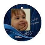 Blue Round gift tag or Ornament - Ornament (Round)