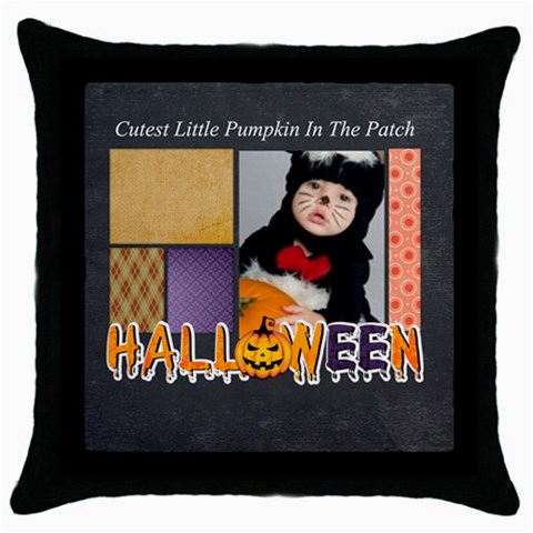 Halloween By Joely   Throw Pillow Case (black)   Nvl51uz5otp4   Www Artscow Com Front