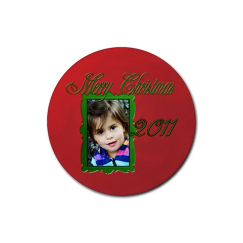 Merry Christmas 2011 By Patricia W   Rubber Round Coaster (4 Pack)   5r8tk2d0wps6   Www Artscow Com Front