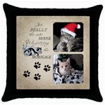 Cats House Throw Pillow Case - Throw Pillow Case (Black)
