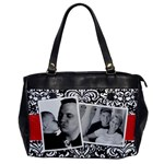 Black & White Damask-Office Handbag (1 side) - Oversize Office Handbag