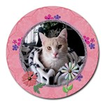 Pink Floral Round Mousepad