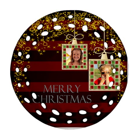 Merry Christmas By Joely   Ornament (round Filigree)   Oi4o2ow6kekj   Www Artscow Com Front