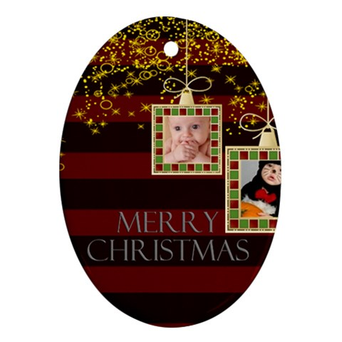 Merry Christmas By Joely   Ornament (oval)   Kznh14mke4sv   Www Artscow Com Front