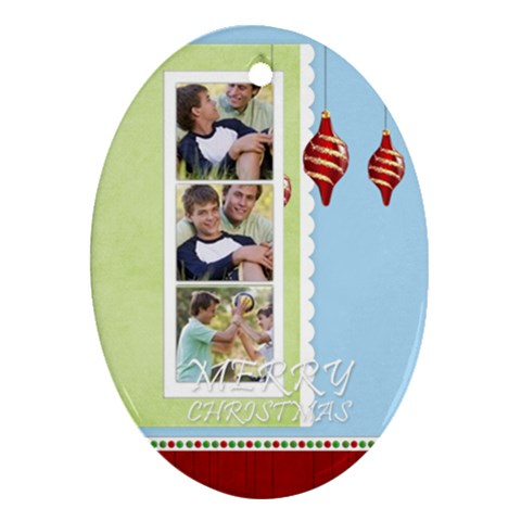 Merry Christmas By Joely   Ornament (oval)   Svcxzb6ac7ko   Www Artscow Com Front