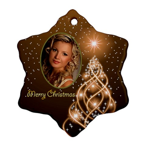 Golden Merry Christmas Snowflake Ornament By Deborah   Ornament (snowflake)   117ys5w6tkm1   Www Artscow Com Front