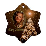 Golden Merry Christmas Snowflake ornament - Ornament (Snowflake)