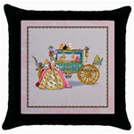 marie and carriage w cakes  squared tan for pillow w border Throw Pillow Case (Black)