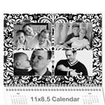 Black & White Damask, Calendar 12 months - Wall Calendar 11  x 8.5  (12-Months)