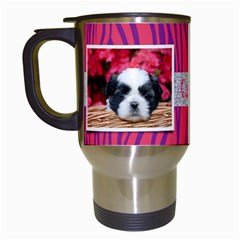 Zebra & Glitter, Travel Mug By Mikki   Travel Mug (white)   7wtzoc7t1u3e   Www Artscow Com Left