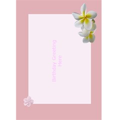 Pink Frangipani Birthday Card (5x7) By Deborah   Greeting Card 5  X 7    Mp07ip1pvxui   Www Artscow Com Back Inside