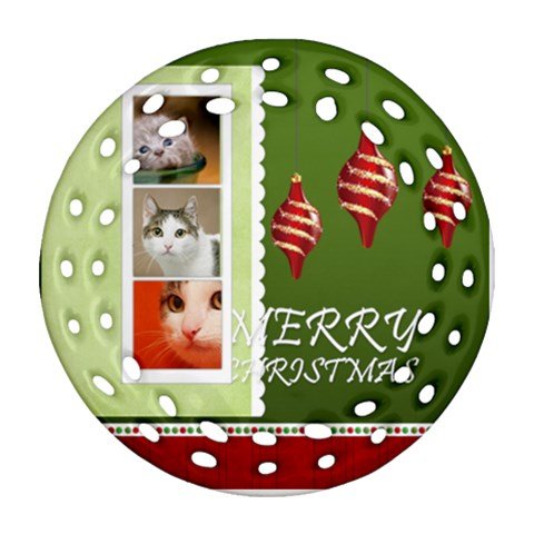 Merry Christmas By Joely   Ornament (round Filigree)   Gxe03uvxfmhm   Www Artscow Com Front