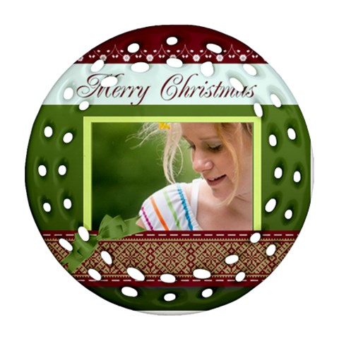 Merry Christmas By Joely   Ornament (round Filigree)   Ny4jeg1wmto7   Www Artscow Com Front