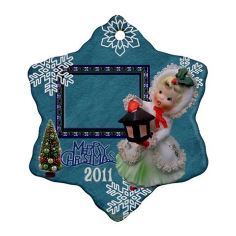 Lantern Girl Blue Snowflake Ornament By Ellan   Ornament (snowflake)   Dl28szgap5hw   Www Artscow Com Front