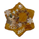 Gold angel 2 SIDE snowflake ornament - Snowflake Ornament (Two Sides)