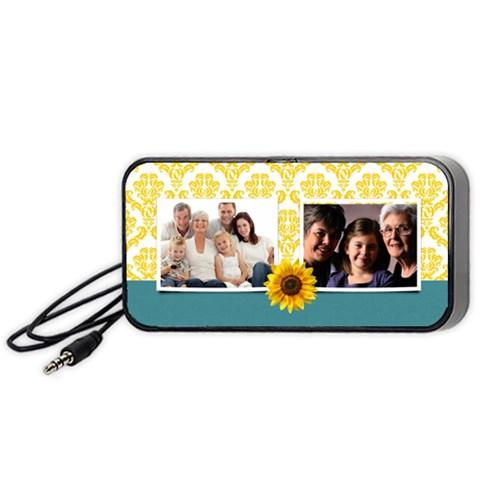 Sunflowers/damask Portable Speakers Black By Mikki   Portable Speaker (black)   71ta0pqv6teh   Www Artscow Com Front
