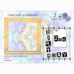 2nd Birthday Party 5x7 Invitation By Lil    5  X 7  Photo Cards   Nqbj9zwwc8cw   Www Artscow Com 7 x5 Photo Card - 7