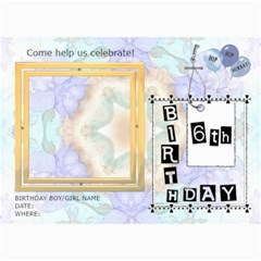 6th Birthday Party 5x7 Invitation By Lil    5  X 7  Photo Cards   Fyt26mojp0yw   Www Artscow Com 7 x5 Photo Card - 6
