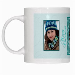 Blue And White Christmas Mug By Patricia W   White Mug   G80gi2h5vhv0   Www Artscow Com Left