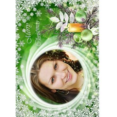 Christmas Green Snowflake 5x7 Card By Deborah   Greeting Card 5  X 7    Ivaiq4dfrn1b   Www Artscow Com Front Cover