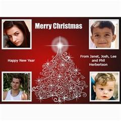 Red And Silver Photo Card 5x7 By Deborah   5  X 7  Photo Cards   4um5xez3u8x6   Www Artscow Com 7 x5 Photo Card - 5