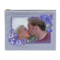 Purple Flower Xl Cosmetic Bag By Deborah   Cosmetic Bag (xl)   2lc5ibguyxw0   Www Artscow Com Front