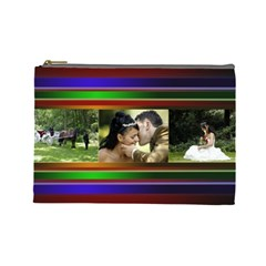 Stripes 2 Large Cosmetic Bag By Deborah   Cosmetic Bag (large)   Yr8v911up3rr   Www Artscow Com Front