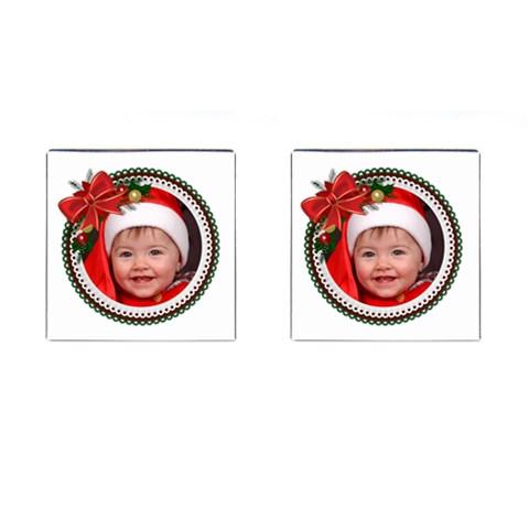 Christmas Photo Cufflink (square) By Deborah   Cufflinks (square)   Dbga7el7apbx   Www Artscow Com Front
