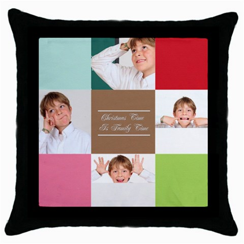 Merry Christmas By May   Throw Pillow Case (black)   X1skk5ikf8ew   Www Artscow Com Front