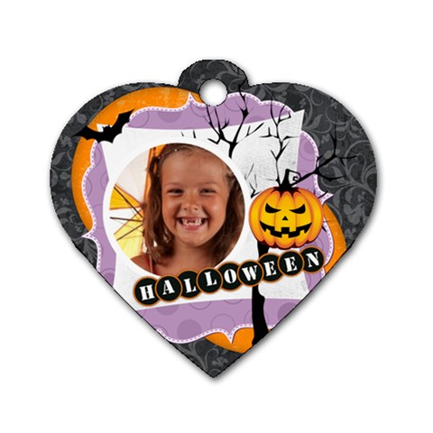 Halloween By Joely   Dog Tag Heart (one Side)   3iq0pwxldrey   Www Artscow Com Front