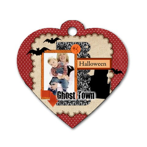Halloween By Joely   Dog Tag Heart (one Side)   3b1nawv2fihi   Www Artscow Com Front