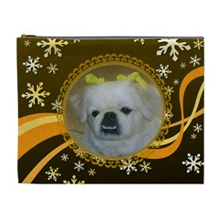 Golden Snowflake Xl Cosmetic Bag By Kim Blair   Cosmetic Bag (xl)   Ii1l6e879eux   Www Artscow Com Front
