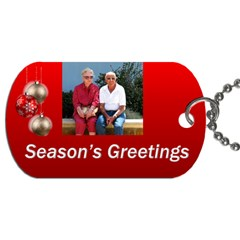 Seasons Greeting Gift Tag Dog Tag (2 Sided) By Deborah   Dog Tag (two Sides)   Jtppiyo488n8   Www Artscow Com Front