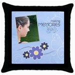 Serenity Blue Throw Pillow Case - Throw Pillow Case (Black)