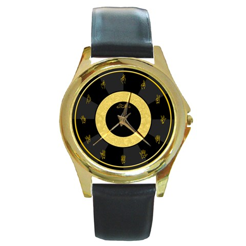 American Sign Language   Black By Timm Miller   Round Gold Metal Watch   J2m6au3p28um   Www Artscow Com Front