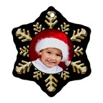 Black and Gold Snowflake Ornament (2 Sided) - Snowflake Ornament (Two Sides)