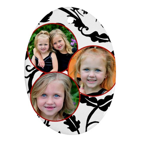 3 Photo Oval Ornament By Amanda Bunn   Ornament (oval)   B0b7jfrok5tj   Www Artscow Com Front