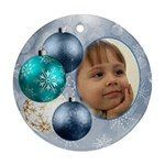 Shades of Pale Blue christmas round ornament (2 sided) - Round Ornament (Two Sides)