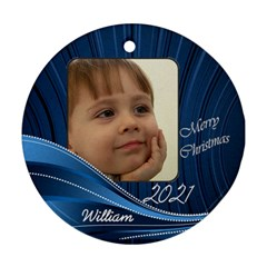 Blue Round Gift Tag Or Ornament (2 Sided) By Deborah   Round Ornament (two Sides)   08j3debxgbmf   Www Artscow Com Front