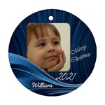 Blue Round gift tag or ornament (2 sided) - Round Ornament (Two Sides)