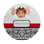 Christmas Theme Card - Round Ornament (Two Sides)