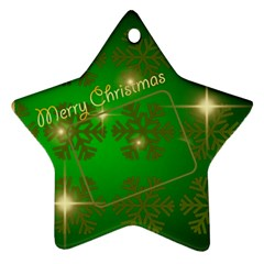 Merry Christmas Green Star (2 Sided) By Deborah   Star Ornament (two Sides)   9b3y0ojund49   Www Artscow Com Back